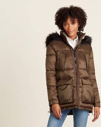 Rachel Roy Faux Fur Hood Cargo Puffer Jacket