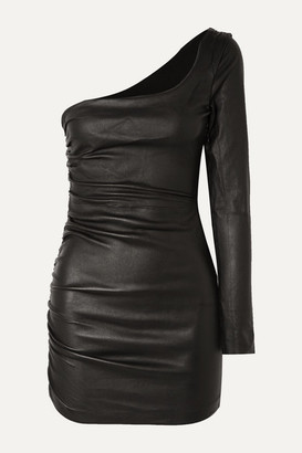 Sprwmn One-sleeve Ruched Leather Mini Dress - Black