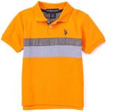 U.S. Polo Assn. Stadium Orange Chambray-Stripe Polo - Toddler & Boys