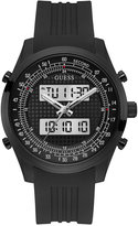GUESS Men's Analog-Digital Black Silicone Strap Watch 45mm U0862G2