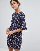 Oasis Bird Print Flute Sleeve Dress