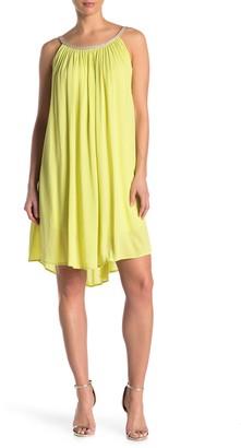Nina Leonard Braided Neck Sleeveless Shift Dress