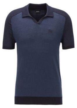HUGO BOSS - Cotton Linen Short Sleeved Sweater With Polo Collar - Dark Blue