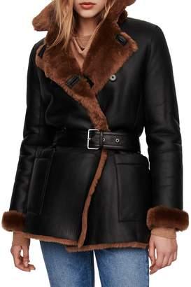 Maje Gaban Reversible Leather Shearling-Lined Belted Coat