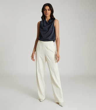 Reiss LAUREN SATIN COWL NECK TOP Navy