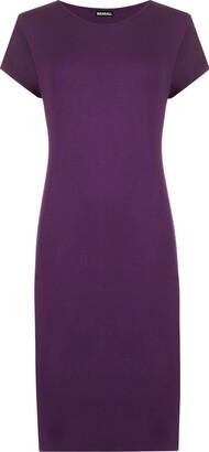 WearAll Womens Plus Size Plain Short Sleeve Stretch Ladies Jersey Midi Dress - Black - 16/18