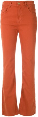 Eva Twill Cropped Flared Trousers