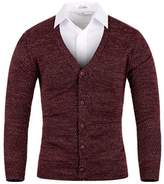 Mmoriah Men's Mosaic Basic Knit Cardigan Sweater Jumper Top