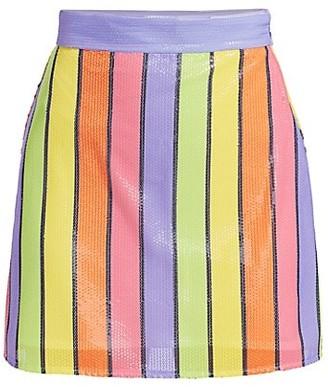 Olivia Rubin Libby Sequin Striped Mini Skirt