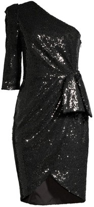 Black Halo Nara Sequin One-Shoulder Sheath Dress