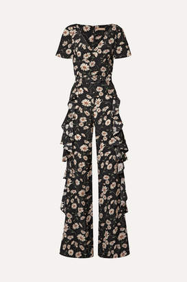 Michael Kors Belted Ruffled Floral-print Silk Crepe De Chine Jumpsuit - Black