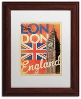 Trademark Fine Art London England Canvas Artwork by Anderson Design Group, 11 by 14-Inch, White Matte with Wood Frame