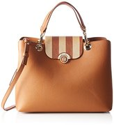 Tommy Hilfiger Effortless Novelty Satchel Stripe, Women's Satchel, Braun (Cognac/ Gold Stripe, Reversible flap), 15x25.5x33 cm (B x H T)