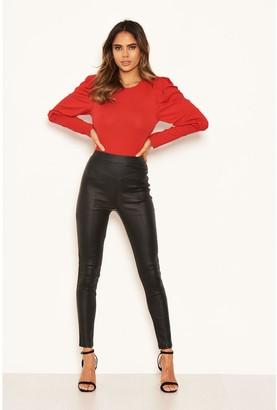 AX Paris High Waisted Faux Leather Leggings - Black