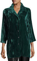 Caroline Rose Long Crinkled Velvet Shirt