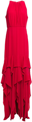 Halston Asymmetric Ruffled Gathered Crepe Gown