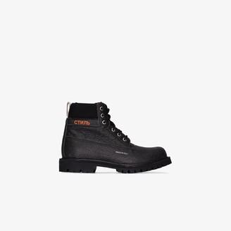 Heron Preston Black Lace-Up Ankle Boots