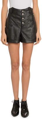 Saint Laurent High-Waist Leather Button-Front Shorts