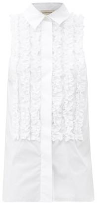 Alexandre Vauthier Ruffled Sleeveless Cotton-poplin Shirt - White