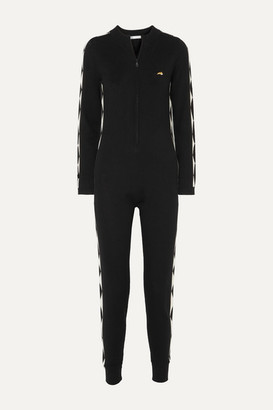 Bella Freud Harlequin Embroidered Intarsia Merino Wool Jumpsuit - Black