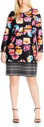 Julia Jordan Women's Plus Size Floral Long Sleeve Sheath Dress