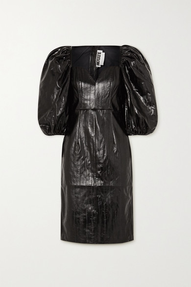 Rotate by Birger Christensen Irina Faux Patent-leather Dress - Black