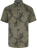 River Island Mens Green Only and Sons leaf short sleeve shirt