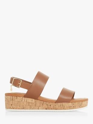 Dune Lenniie Leather Wedge Sandals