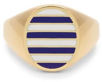 Jessica Biales - Enamel & 18kt Gold Ring - Blue