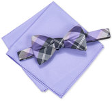 Alfani Men's Hudson Plaid Pre-Tied Bow Tie & Pocket Square Set, Only at Macy's