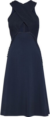 Jonathan Simkhai Crossover Faille-paneled Lace-up Crepe Dress