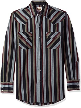 ELY CATTLEMAN Men's Long Sleeve Stripe Western Shirt