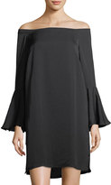 philosophy Off-The-Shoulder Bell-Sleeve Dress, Black