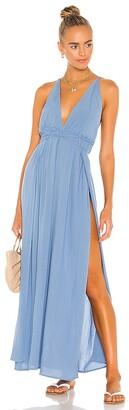 Indah River Solid Triangle Plunge Dress