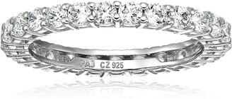 Amazon Essentials Platinum Plated Sterling Silver Round Cut Cubic Zirconia All-Around Band Ring (2.5mm) Size 6