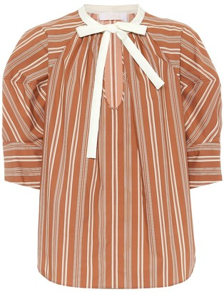 Chloé Striped cotton-poplin blouse