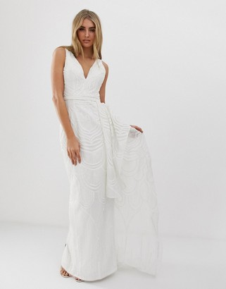 Bariano bridal sequin maxi dress with detachable skirt in white