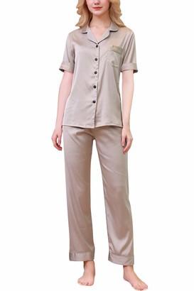 YAOMEI Womens Pyjamas Set Satin Ladies Silky Short Sleeves Nighties Couples PJ Set Sleepwear Nightwear Luxury Lingerie Button Pocket Front Shirt Top with Bottoms Pants (L