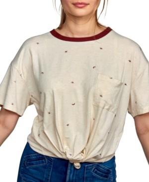 Self Esteem Juniors' Star-Print Tie-Hem Ringer Top