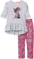 Funkyberry Print Tunic & Pant 2-Piece Set (Toddler & Little Girls)