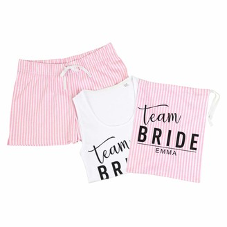 Myog Personalised Prints HP4 Team Bride Pyjamas - White & Pink Stripe - Without Bag - L (UK 14)