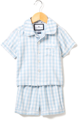 Petite Plume Gingham Pajama Set w/ Contrast Piping, Size 6M-14