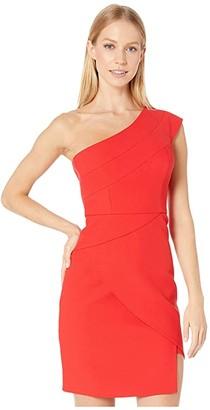 BCBGMAXAZRIA One Shoulder Cocktail Dress (Jewel Red) Women's Dress
