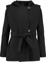 Maje Wool and cashmere-blend hooded coat