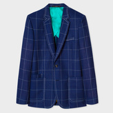 Paul Smith A Suit To Travel In - Men's Tailored-Fit Blue Loro Piana Wool Windowpane Check Blazer