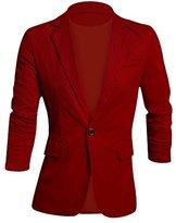 Allegra K Men Notched Lapel Button Down Slim Fit Linen Jacket Burgundy S