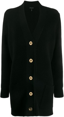 Escada Ribbed Knit Buttoned Cardigan