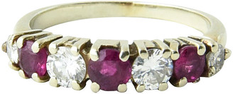 One Kings Lane Vintage 7-Stone Diamond & Ruby Band Ring - Owl's Roost Antiques