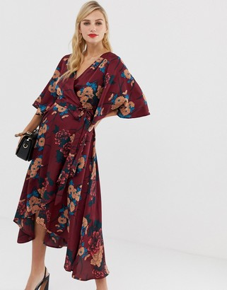Liquorish floral wrap front midi dress with tie belt and waterfall hem-Multi