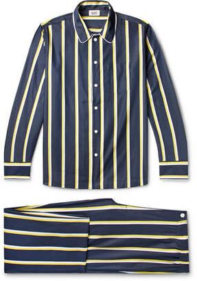 Sleepy Jones Henry Piped Striped Cotton-Poplin Pyjama Set
